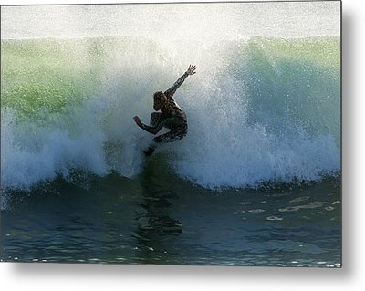 Surfer Catching A Wave Metal Print by Ben Welsh