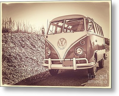Surfer's Vintage Vw Samba Bus At The Beach Metal Print by Edward Fielding