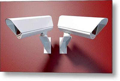Surveillance Cameras On Red Metal Print by Allan Swart