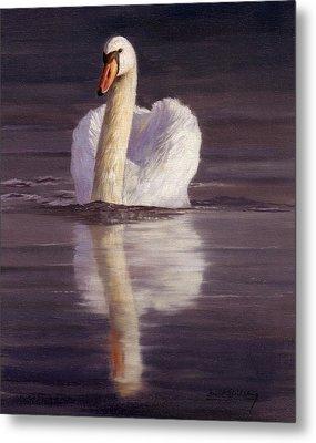 Swan Metal Print by David Stribbling