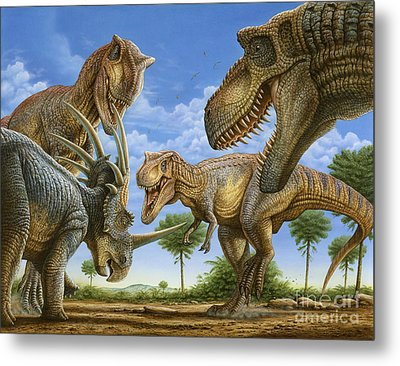 T-rex Attack Metal Print by Phil Wilson