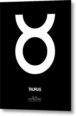 Taurus Zodiac Sign White Metal Print by Naxart Studio