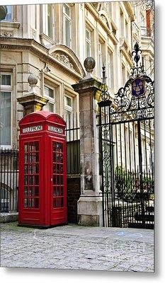 Telephone Box In London Metal Print by Elena Elisseeva