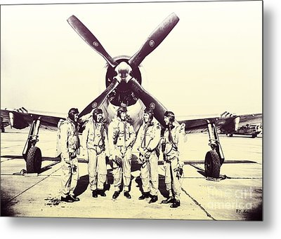 Test Pilots With P-47 Thunderbolt Fighter Metal Print by R Muirhead Art