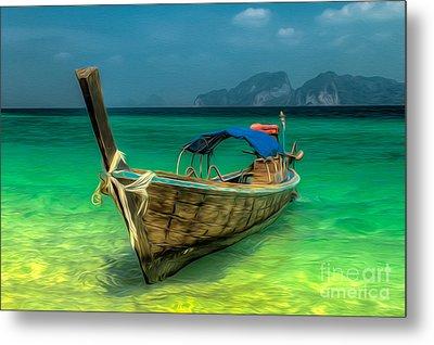 Thai Longboat Metal Print by Adrian Evans