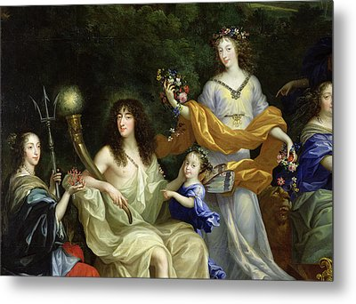 The Family Of Louis Xiv 1638-1715 1670 Oil On Canvas Detail Of 60094 Metal Print by Jean Nocret