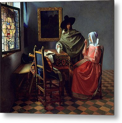 The Glass Of Wine Metal Print by Johannes Vermeer