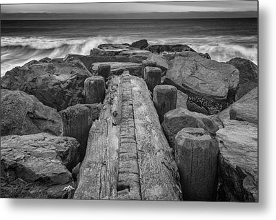 The Jetty In Black And White Metal Print by Rick Berk