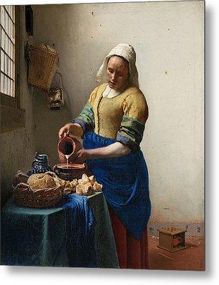 The Milkmaid Metal Print by Johannes Vermeer