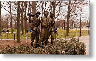 The Three Soldiers Bronze Statues Metal Print by Panoramic Images