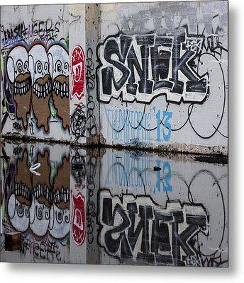 Three Skulls Graffiti Metal Print by Carol Leigh