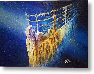 Titanic In The Deep Mist Metal Print by Ottilia Zakany