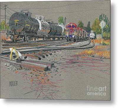 Train's Coming Metal Print by Donald Maier