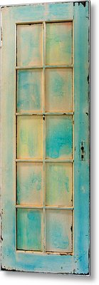Turquoise And Pale Yellow Panel Door Metal Print by Asha Carolyn Young