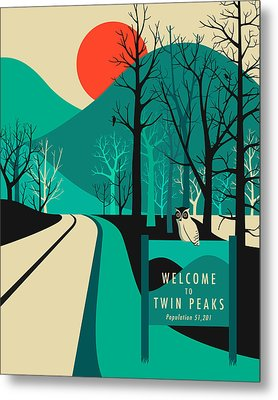 Twin Peaks Travel Poster Metal Print by Jazzberry Blue