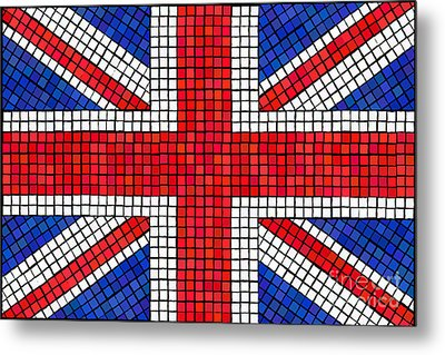 Union Jack Mosaic Metal Print by Jane Rix