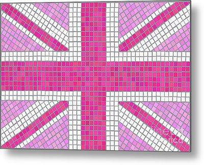 Union Jack Pink Metal Print by Jane Rix