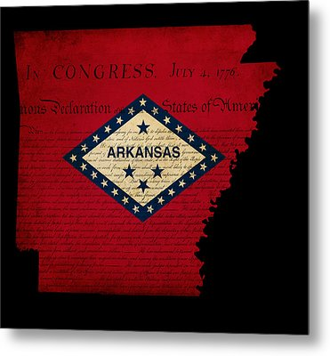 Usa American Arkansas State Map Outline With Grunge Effect Flag  Metal Print by Matthew Gibson