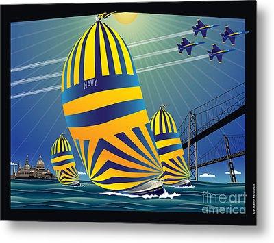 Usna High Noon Sail Metal Print by Joe Barsin