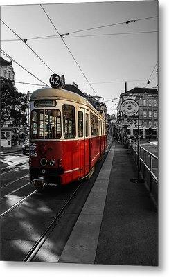 Vienna - Tramway Colourkey Metal Print by Jean Claude Castor
