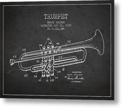 Vinatge Trumpet Patent From 1939 Metal Print by Aged Pixel