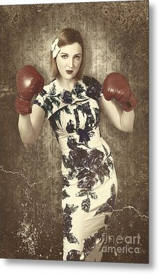 Vintage Boxing Pinup Poster Girl. Retro Fight Club Metal Print by Jorgo Photography - Wall Art Gallery