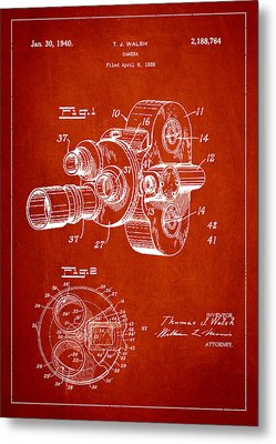 Vintage Camera Patent Drawing From 1938 Metal Print by Aged Pixel