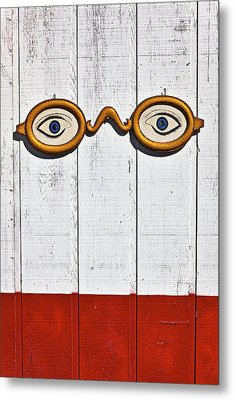 Vintage Eye Sign On Wooden Wall Metal Print by Garry Gay