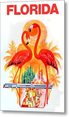 Vintage Florida Travel Poster Metal Print by Jon Neidert