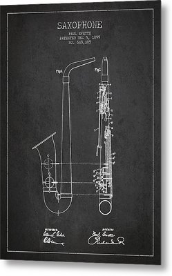 Saxophone Patent Drawing From 1899 - Dark Metal Print by Aged Pixel