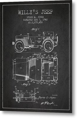 Vintage Willys Jeep Patent From 1942 Metal Print by Aged Pixel