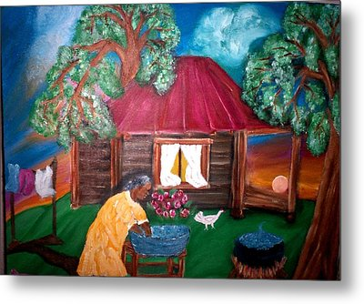 Wash Day At Aunties Metal Print by Mildred Chatman