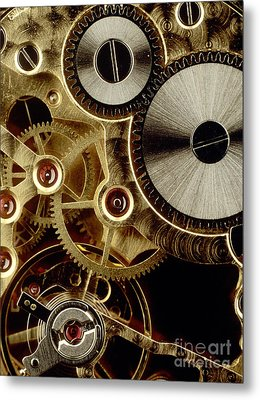 Watch Mechanism. Close-up Metal Print by Bernard Jaubert