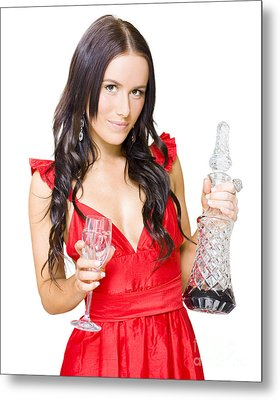 Winery Woman With Red Wine Glass And Decanter Metal Print by Jorgo Photography - Wall Art Gallery