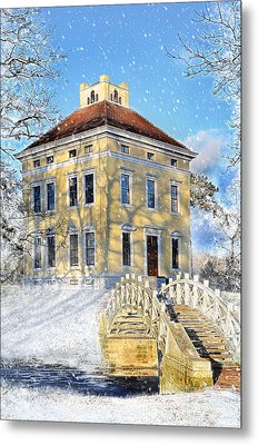 Winter Landscape With A Bridge Over The River And Interesting Home Metal Print by Gynt