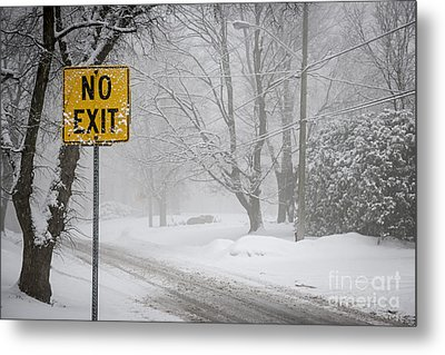 Winter Road During Snowfall Iv Metal Print by Elena Elisseeva