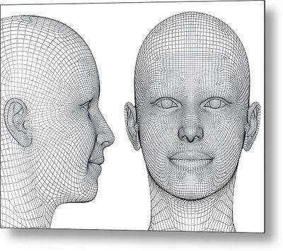 Wireframe Heads Metal Print by Alfred Pasieka