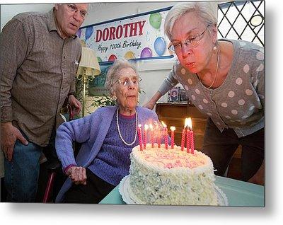 Woman Celebrating 100th Birthday Metal Print by Jim West