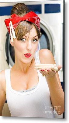 Woman Doing Washing Metal Print by Jorgo Photography - Wall Art Gallery
