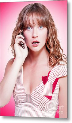 Woman Reacting With Disbelief To News Metal Print by Jorgo Photography - Wall Art Gallery