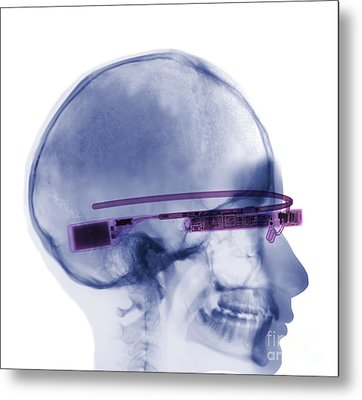 Woman Wearing Google Glass X-ray Metal Print by Ted Kinsman