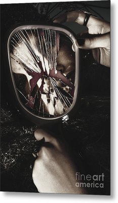 Woman With Broken Mirror And Shattered Reflection Metal Print by Jorgo Photography - Wall Art Gallery