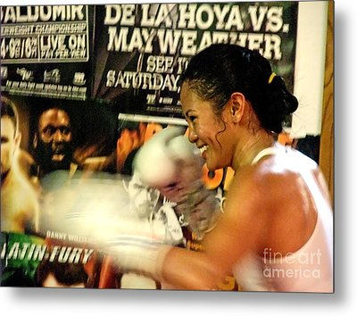 Woman's Boxing Champion Filipino American Ana Julaton Metal Print by Jim Fitzpatrick