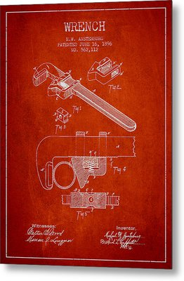 Wrench Patent Drawing From 1896 Metal Print by Aged Pixel