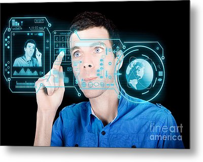 Young Man Using Futuristic Virtual Interface Metal Print by Jorgo Photography - Wall Art Gallery