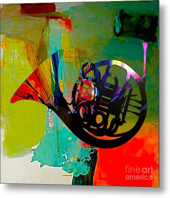 French Horn Metal Print by Marvin Blaine