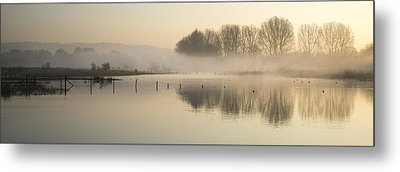 Panorama Landscape Of Lake In Mist With Sun Glow At Sunrise Metal Print by Matthew Gibson