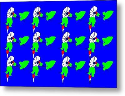 12 Bindweed Flowers On Blue Metal Print by Asbjorn Lonvig