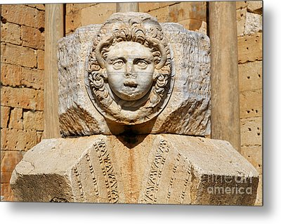 Sculpted Medusa Head At The Forum Of Severus At Leptis Magna In Libya Metal Print by Robert Preston