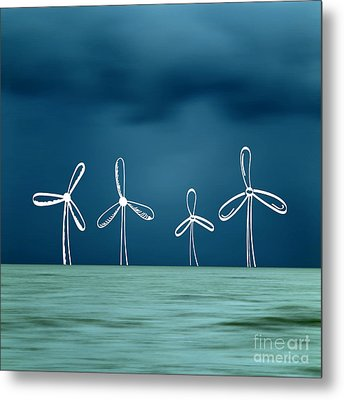 Wind Turbine Metal Print by Bernard Jaubert
